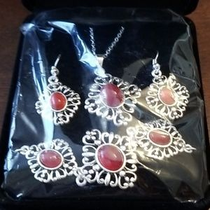 Stylish Red and Silver Necklace, Earrings Bracelet